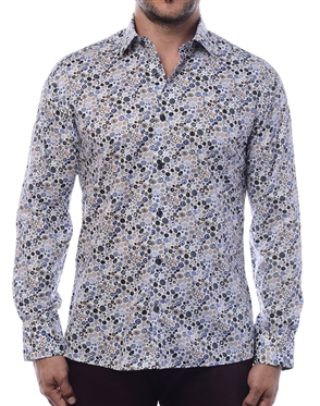 Men's Handsome  Dress Shirt -  Multi Colored Pebble Print Dress Shirt With White Background