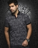 Black Mosaic Stripe Polo