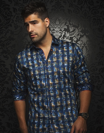 Unique Luxury Shirt - Navy Check Floral