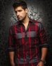 Designer Shirt: Red Grey Check Woven Fahion Dress Shirt