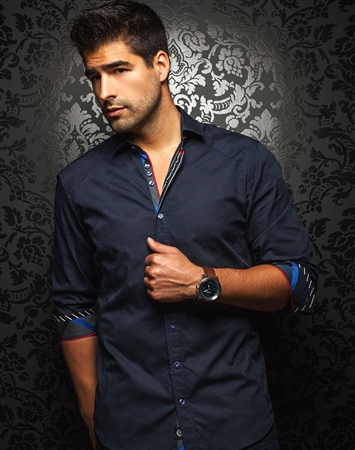 Luxury Dress Shirt - Navy Jacquard Casual Sport shirt