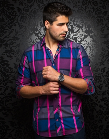 Designer Dress Shirt: Pablo Nuovo Fuchsia