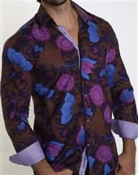 Floral Pirnt Shirt for Men: Purple Floral Print Casual Sport Shirt