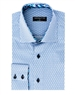 Men's Fashion Shirt - Blue Block Repeat Cube Pattern Shirt