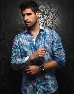 Designer Dress Shirt - Blue Stripe