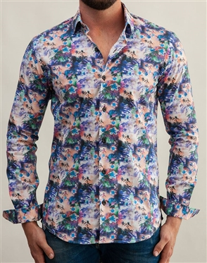 Abstract Floral Dress Shirt
