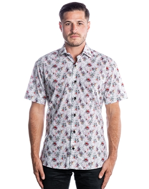 Trendy Short Sleeve Woven - Black Floral Short Sleeve Woven