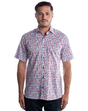 Sporty Short Sleeve Dress Shirt - Colorful Purple Button Down