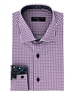 Men's Fashion Shirt - Purple White Checkered Dress Shirt