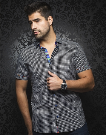 Sporty Short Sleeve Dress Shirt:  Pietro Black