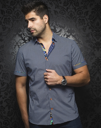 Sporty Short Sleeve Dress Shirt:  Pietro Navy