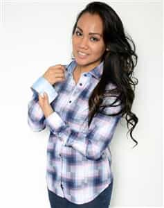 Women Dress Shirt Pink checkered Shirt