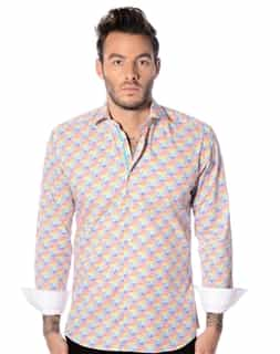 Aqua Diagonal Stripe Shirt
