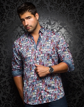 Luxury Dress Shirt - Portas Red Multi+