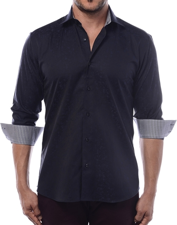 Modern Men's Dress Shirt - Black And Deep Navy Exotic Floral Print Designer Shirt