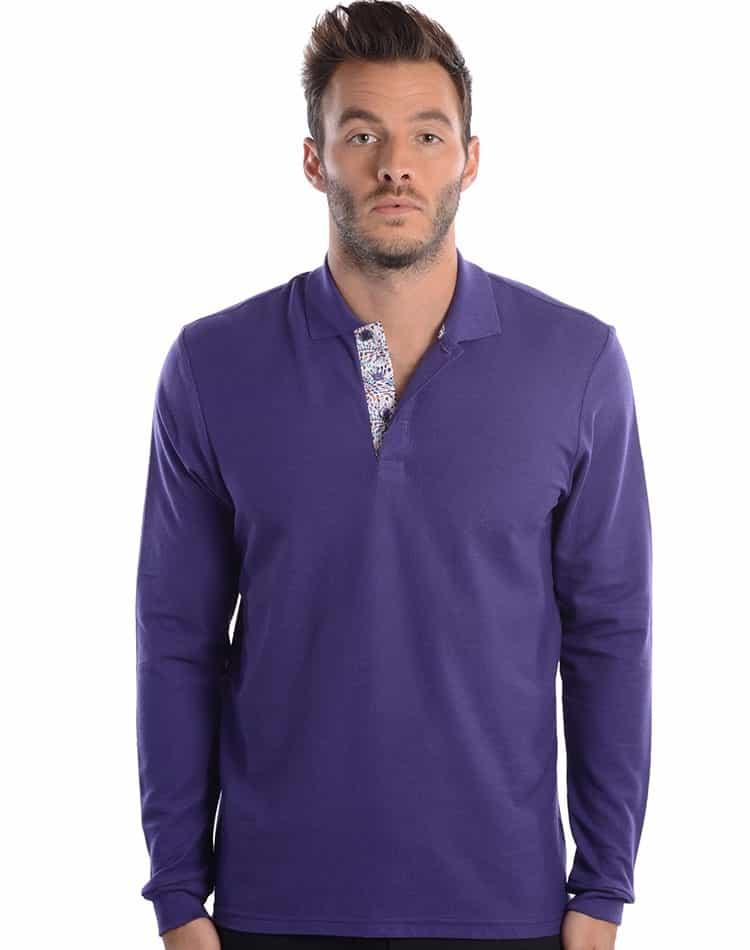 cb088013 Stylish Polo Shirt: Designer Long Sleeve Polo - psls-w205-01 Purple