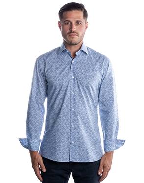 Luxury Dress Shirt - Blue White Floral Button Down