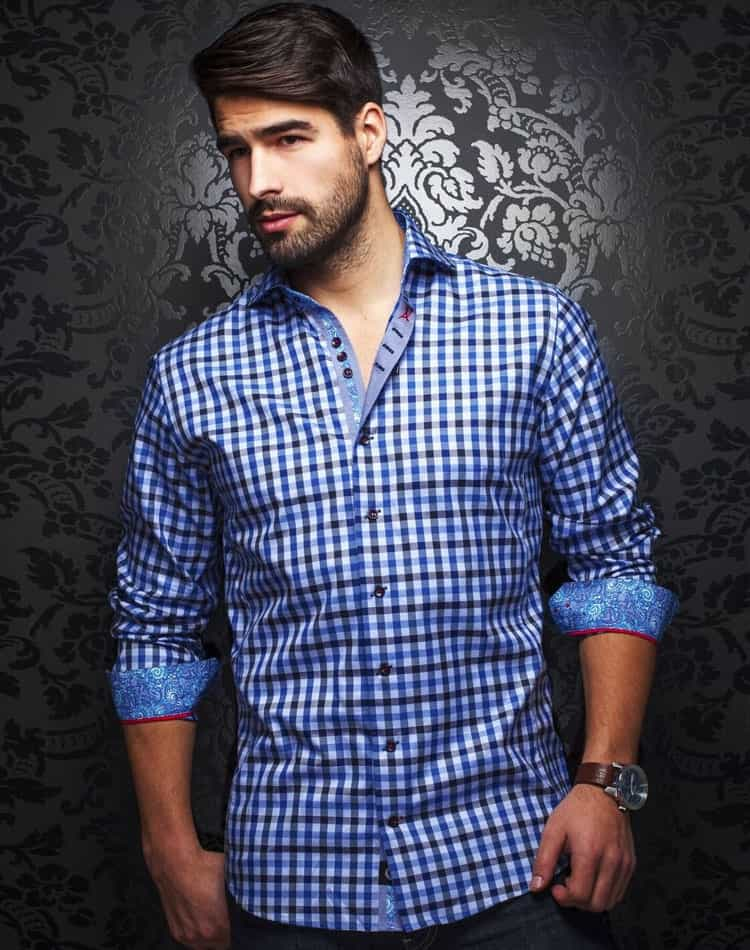 plaid shirt men royal blue plaid long sleeve shirt au. Black Bedroom Furniture Sets. Home Design Ideas