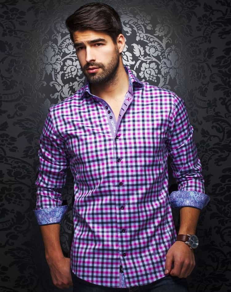 plaid shirt men fuchsia plaid long sleeve shirt au noir. Black Bedroom Furniture Sets. Home Design Ideas