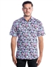Short Sleeve Luxury Dress Shirt - Purple Floral Button Down
