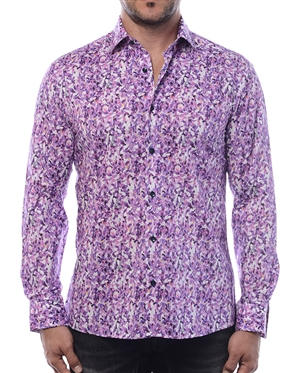Modern Men's Dress Shirt - Flawless Abstract Print Shirt Featuring A Fashionable Mix Of Purples.