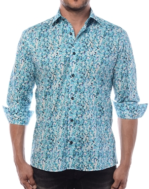Luxury Dress Shirt - Flawless Abstract Print Shirt Featuring A Fashionable Mix Of Turquoise And Purple.