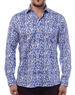 Luxury Dress Shirt - Flawless Abstract Print Shirt Featuring A Fashionable Mix Of Light-Blue And Navy.