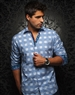 Designer Shirt: White Blue Check Woven Fahion Dress Shirt
