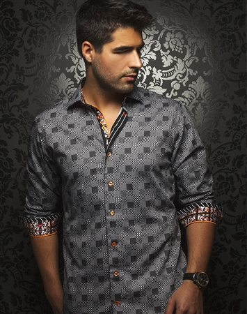 Fashionable Dress Shirt - Designer Black Button Down