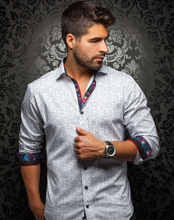 Designer Shirt: White Black Dash Dress Shirt