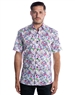 Sporty Short Sleeve Dress Shirt - White Pink Floral