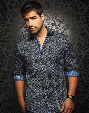 Luxury Sport Shirt - Dark Navy Print