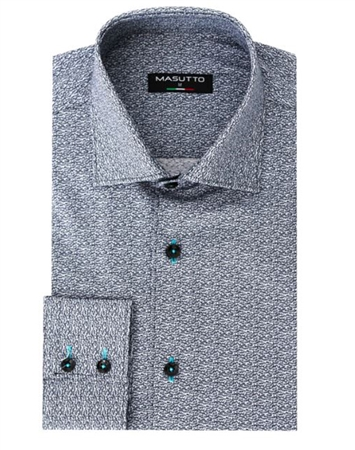 Designer Dress Shirt - Black White Liberty Print Dress Shirt