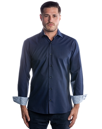 Designer Dress Shirt - Classy Navy Dress Shirt