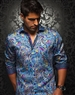 Designer Shirt: Men Blue Paisley Woven Fahion Dress Shirt