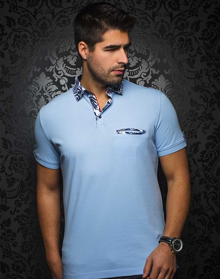 d0f82e2b4 Shop Men Designer Polo Shirts | Light Blue Polo Shirt | Au Noir