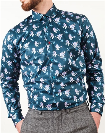 navy Floral Dress Shirt