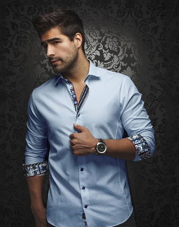 Luxury Dress Shirt: Designer Light Blue Button Down
