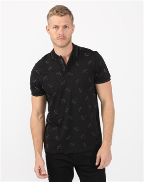 Ebony Black Dragonfly Mens Polo