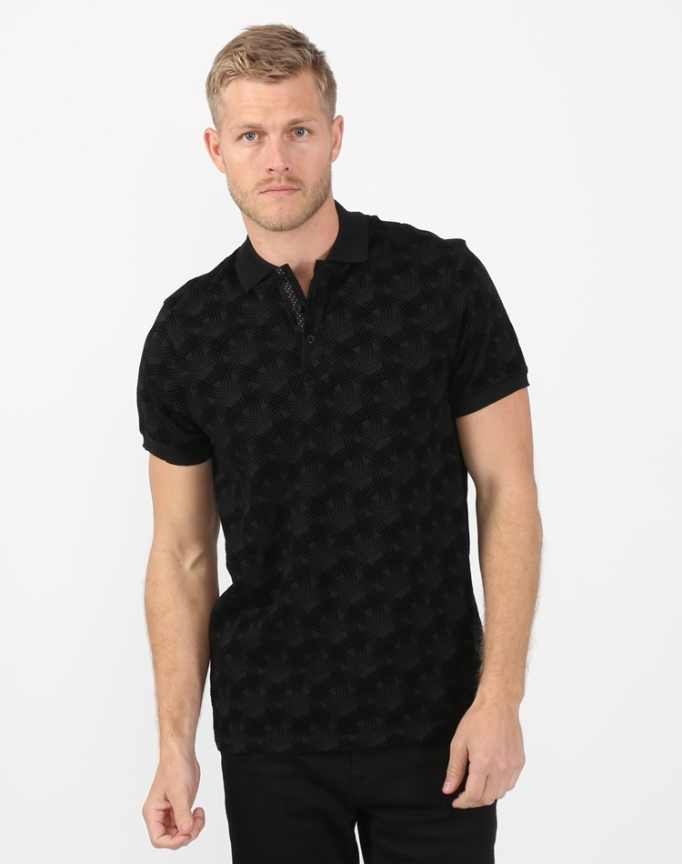 Austere Polo Black Design Flocking Polo Shirt (SS 19)