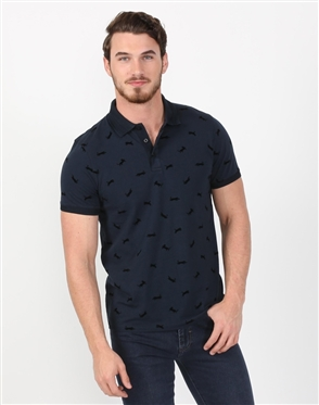 Enigmatic Navy Print Mens Polo Shirt