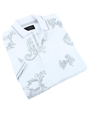 Ivory White Mens Paisley Polo Shirt
