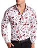 Shop Men Dress Shirt :White Red Dress Shirt