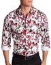 Men Fashion Shirt: White Red Butterfly Dressshirt