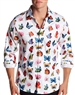 Luxury Dressshirt - White Multicolor Butterfly