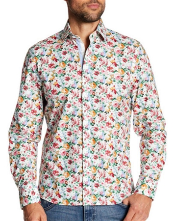 White Floral Casual Dress Shirt