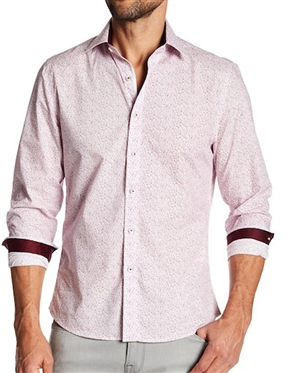 Men Pink Fashion Shirt With Red Accent