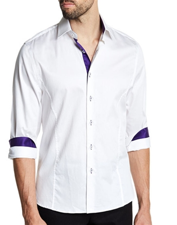 White Dress Shirt Purple Accents