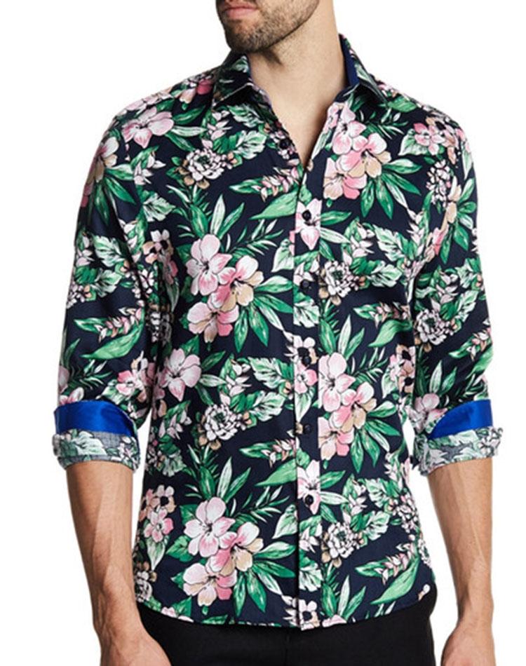 5c0d9f3e09a4 Tropical Print Dress Shirt  Men Black Printed Tropical Dress Shirt ...