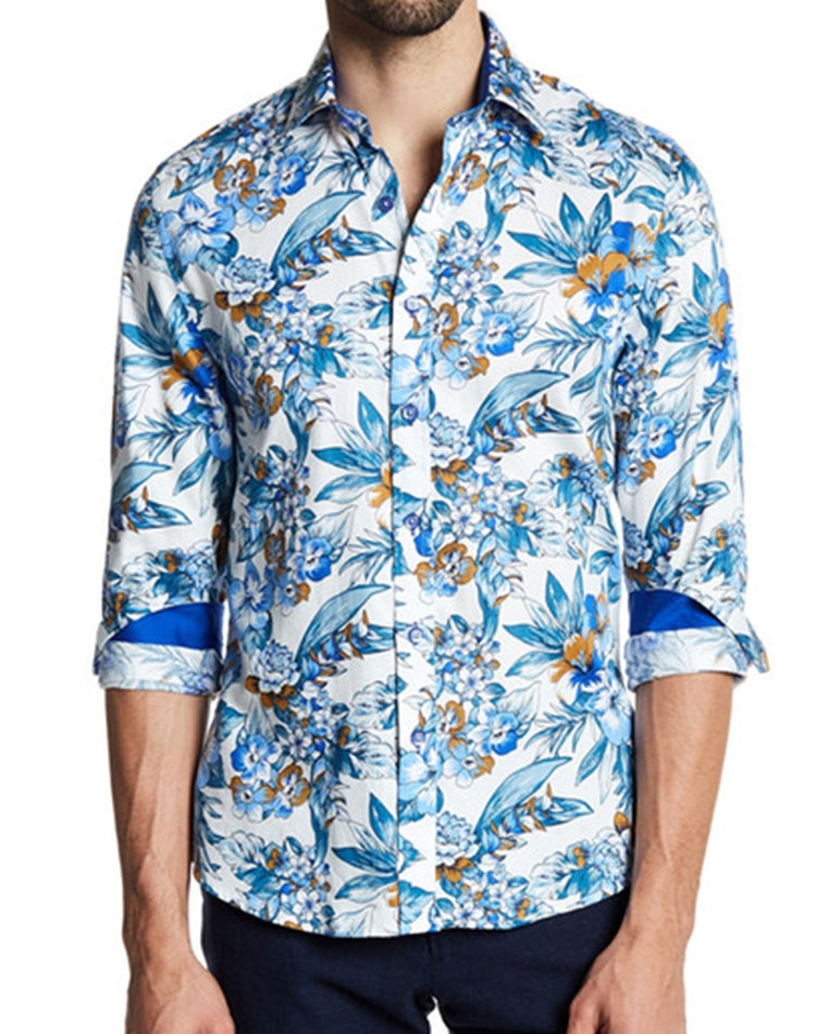 954dd80854 Shop Men: White Tropical Style Dress Shirt | Next Level Couture
